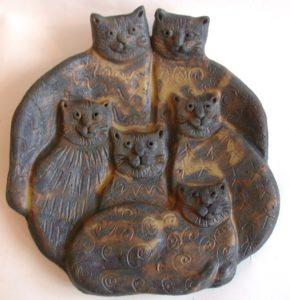 cat wall plaque, wall hanging, ceramic cat, present, jane adams ceramics
