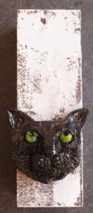 cat wall plaque, woodblock, black cat, cat ornament