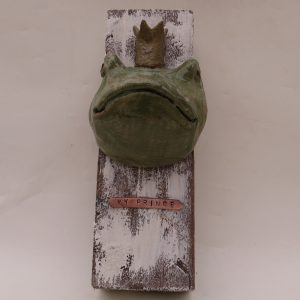frog prince, wall plaque, jane adams ceramics, handmade, fairytale