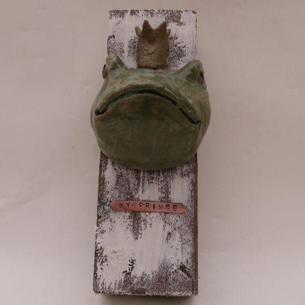 frog prince, wall plaque, jane adams ceramics, handmade, fairytale