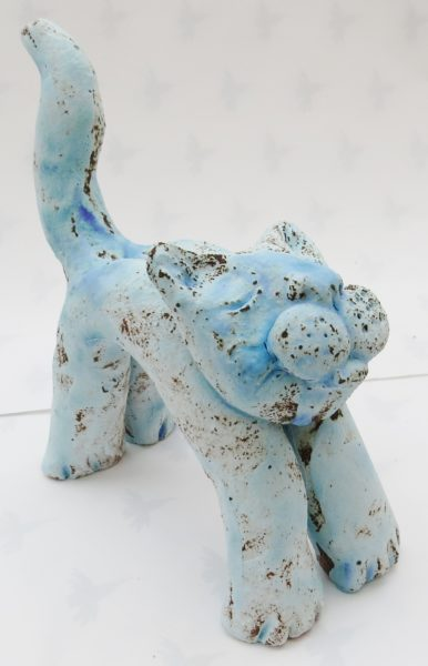 pottery cat, stoneware cat, ceramic cat. jane adams ceramics