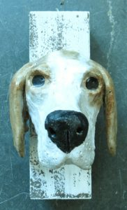 pointer dog, ceramic dogs, handmade studio pottery, pottery dog ornament, pointer, wall hanging, jane adams ceramics