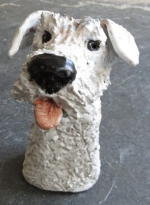 rogues gallery dog, ceramic dogs, sealyham terrier, pottery dog ornament, hand built studio ceramics, jane adams ceramics