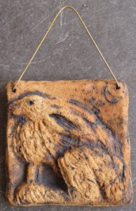 wall plaque, hare plaque, stoneware