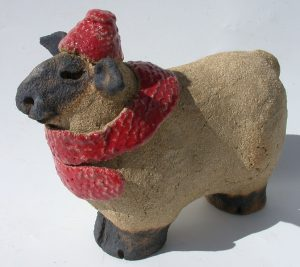 sheep, pottery sheep, sheep and scarf. jane adams ceramics