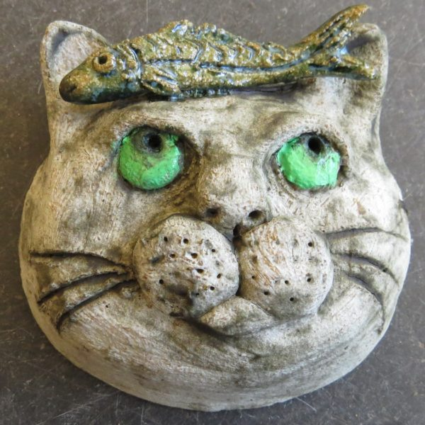 cat and pilchard wall hanging