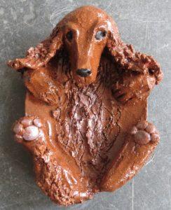 Cocker spaniel, cocker, spaniel, ceramic, dish, pottery dog, jane ada,s ceramos