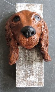 cocker, spaniel, ceramic dog, wall hanigng, trophy head, hand made stoneware, studio pottery, jane adams ceramics