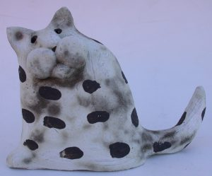 cat ornament, ceramic cat, hand built stoneware cat, jane adams ceramics