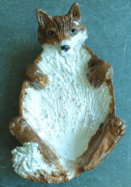 fox dish. pottery fox, handmade stoneware fox. jane adams ceramics.