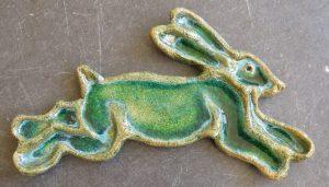 hare trinket dish, glazed hare dish, pottery hare, dish, jane adams ceramics