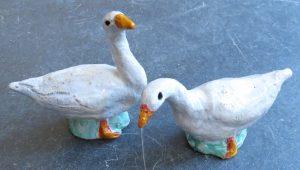 ceramic geese, white pottery geese, pair of geese, handmade stoneware, pottery goose, pottery geese, jane adams ceramics