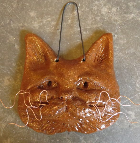 cat face, wall plaque, cat plaque, whiskers on cats, ceramic cats, handbuilt pottery cats, jane adas ceramcs