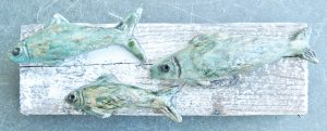 ceramic fish, pottery fish, pilchards, woodblock, upcycled wood, handmade studio pottery, jane adams ceramics