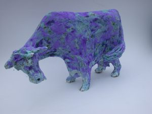 blue cow, ceramic cow, stoneware, blue glaze, stoneware, hand made pottery cow, jane adams ceramics