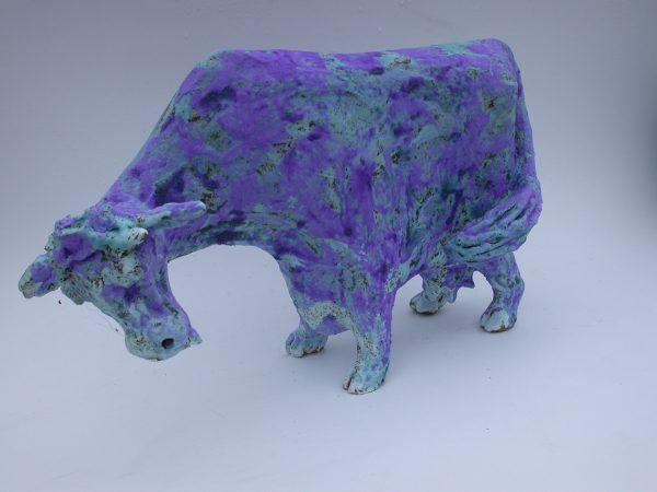 blue cow, ceramic cow, stoneware, blue glaze, stoneware, hand made pottery cow, jane adams ceramics