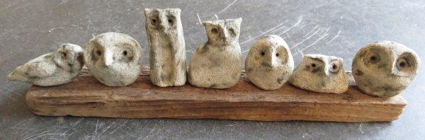 owls, pottery owls, driftwood, owl ornament, stoneware owls, jane adams ceramics, hand built pottery