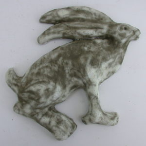 sitting hare, hare wall plaque, wall plaque, stoneware, handmade, studio ceramics, jane adams ceramics