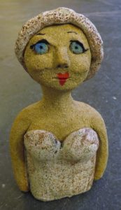 swiming lady, ceramic people, stoneware figurines, hand built, jane adams ceraics