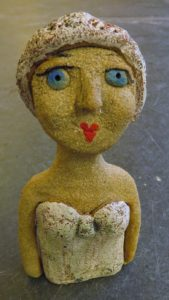 swimming lady, hand built, stoneware people, ceramic people, figurines, jane adams ceramics, battery rocks penzance