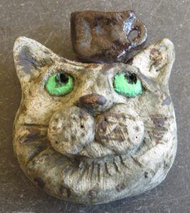 cat wall hanging, teacup, pottery cat, jane adams ceramics, handmade studio pottery cat