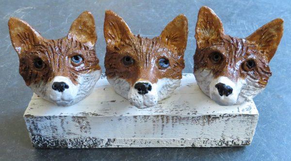 fox heads, pottery fox ornaments, ceramic foxes, jane adams ceramics, woodblock