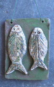 two plaice, fish on a dish, wall hanging, ceramics fish, hand built stoneware ceramics, jane adams ceramics, pottery fish