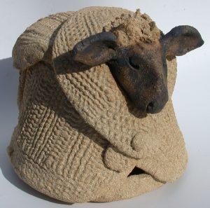 ceramic jumper, pottery sheep, sheep ornament, sheep in jumper, jane adams ceramics, hand built studio pottery