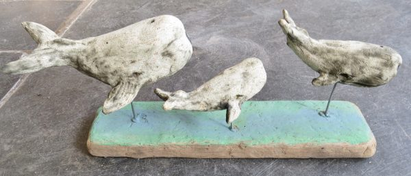 ceramic whale, pod of ceramic whales, driftwood sculpture, jane adams ceramics, whale ornaments, pottery whales,