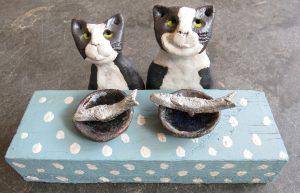cat ornament, teatime, fish, dish, black and white cats, pottery cats, handmade studio pottery, stoneware cats, jand adams cramics, st just, cornwall
