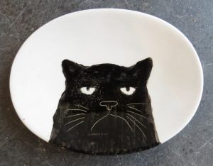 Black Cat, dish, handpainted, oval dish, food safe, jane adams ceramics, black cats