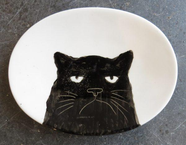 Black Cat, dish, handpainted, oval dish, food safe, jane adams ceramics, black cats