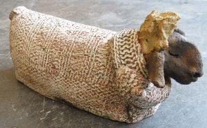 wooly jumper. ceramic sheep, pottery sheep, sheep ornament, hand made ceramics, stoneware, jane adams ceramics, cornwall