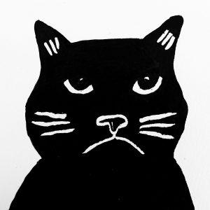Greeting card, hand drawn, black cats, grumpy cat