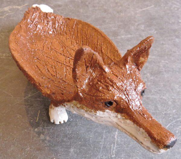 fox dish, ceramic fox, pottery fox, pottery fox ornaments, jane adams ceramics, handmade pottery, studio pottery fox
