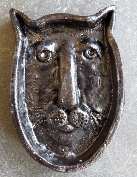 cat face, cat dish, trinket dish, ring dish, handmade pottery, studio ceramics, ceramic cat, pottery cat, jane adams ceramics, cornwall