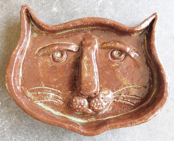 cat face dish, ring dish, trinket dish, pottery cat face, dish, cat face, studio ceramics, pottery cat, pottery dish, jane adams ceramics, cornwall