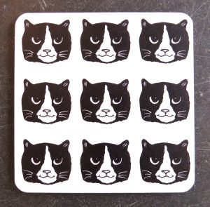 coaster, cat coaster, drinks coaster, cork coaster, cats, black and white cats, designer coaster, jane adams ceramics coasater