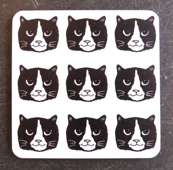 coaster, cat coaster, drinks coaster, cork coaster, cats, black and white cats, designer coaster, jane adams ceramics coasater
