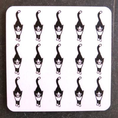 stalking cat grid coaster