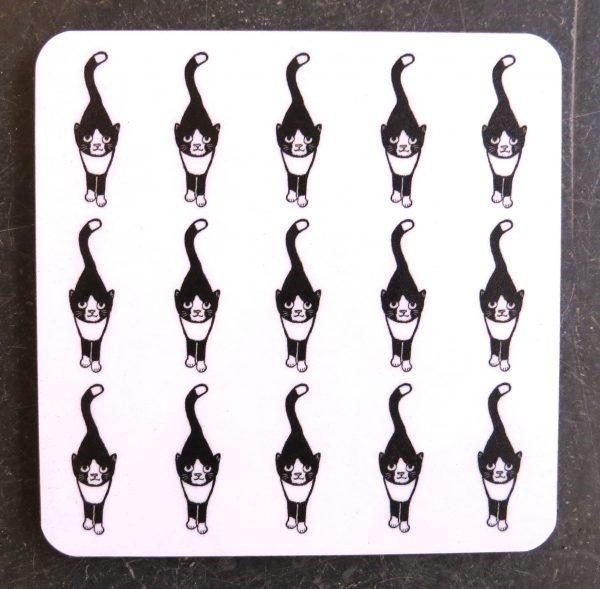 cat coaster, black and white cat coaster, jane adams ceramics, cat gifts