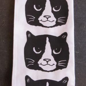 black and white cat head teatowel