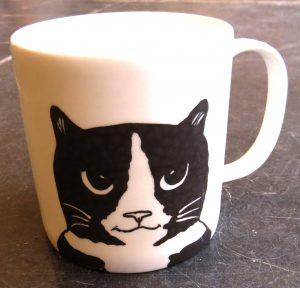 bone china, mug, large mug, pottery mug, cat mug, black and white cat mug, paw print designs, jane adams ceramics,