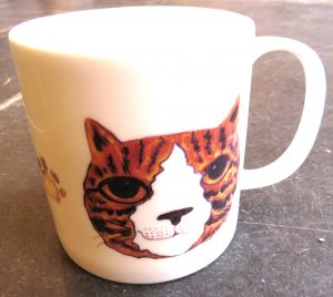 mug, bone china, bone china mug, cat mug, cat face mug, ginger cat designs, paw print designs, jane adams ceramics, illustrated mugs