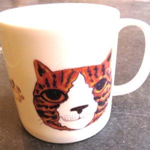 large bone china mug - ginger cat face