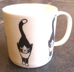 mug, pottery mug, china mug, bone china mug, illustration, cat design, black and white cat mug, pottery cat mugs, pottery cats, black and white cats,