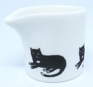 bone china jug, tiny jug, creamer, indiidual creamer, pawprint designs, cat jug, cat theme, cat present, cat gift, jane adams ceramics