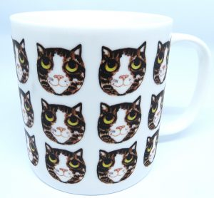 mug, large mug, bone china mug, brown and white tabby cat, cat mug, jane adams ceramics, pawprint designs