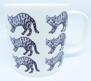 cat mug, bone china mug, large mug, tabby cat, teatime, jane adams ceramics, pottery cat mug, ceramic cats, china cats, porcelain cats, cornwall, st just