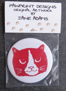 handbag mirror, purse mirror, small mirror, mirror, cat illustration, cat designs, cat gifts, cat themed gifts, gifts for cat lovers, cat presents, jane adams, pawprint designs, cornwall, ginger and white cats